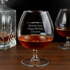 Personalised Engraved Brandy Cognac Glass Birthday Retirement Fathers Day Gift