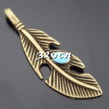 12pcs Vintage Bronze Alloy Blue Crystal Leaf Pendant Charms Craft Findings 50607