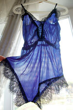 Vintage Blue Sheer Shiny Silkly Polyamide Lace Teddy Body All-In-One S