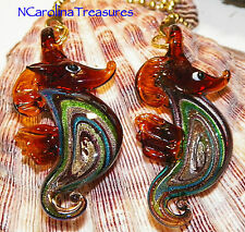 MURANO GLASS CEILING FAN SWITCH PULL RED COLORFUL SWIRL SEAHORSE LARGE PAIR S972