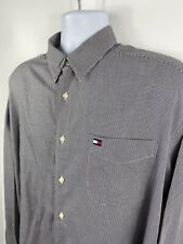 Tommy Hilfiger Mens Longsleeve Smart Casual Work Navy Blue Button Up Shirt L-XL