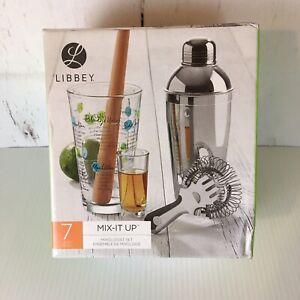 Libbey Mix-It Up 7-Piece Cocktail Barware Set 16 oz Shaker & Glass Kitchen New
