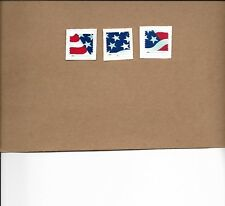 SCOTT 4961-63 STARS AND STRIPES(PLATE # MIDDLE STAMP)USED SET OF THREE ON PAPER