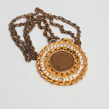 Vintage Regal Gems Pendant Medallion 1906 Penny  2.25 Carat Man Made Diamonds