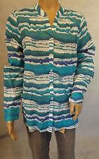 ★ GINA LAURA ★ L ~ 44/46  Tolle Bluse ~ Tunika ~ langarm ~ blau türkis weiss