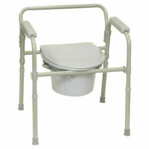 ProBasics 3-in-1 Folding Bedside Commode 350lb Capacity Safety Frame Medical