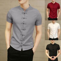 Summer Men's Chinese Style Slim Short Sleeve Shirts Blouse Casual Ethnic T Shirt