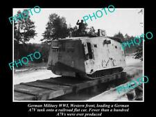 OLD LARGE HISTORIC PHOTO OF GERMAN MILITARY WWI A7V MILITARY TANK WESTERN FRONT