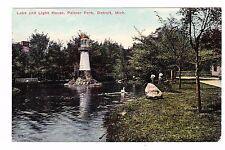 LAKE AND LIGHT HOUSE   PALMER PARK---DETROIT MICHIGAN--- POSTCARD