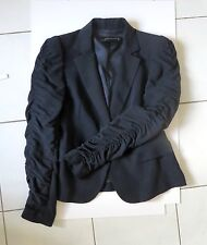 ZARA Woman Navy blue lyocell Jacket Blazer with gathered sleeves S
