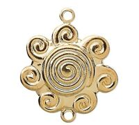 10 Gold Plated Brass Swirl Flower Connectors / 14x14mm
