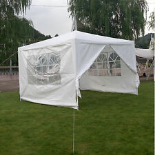 10' x 10' Outdoor Canopy Party Wedding Tent White Gazebo Pavilion w/4 Side Walls