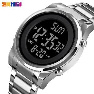 SKMEI Digital Men Watches Steel LED Wristwatch Male Electronic Alarm Watch Gifts