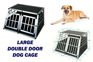 Dog Cage Aluminium Single Double Door Large pet Transport Crate Car Boot Carrier