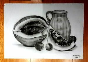 """ANA MARIA BERTHELOT 27.5"""" x 20"""" CHARCOAL GRAPHITE PENCIL ON PAPER DRAWING"""
