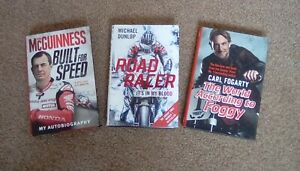 John McGuinness, Michael Dunlop, Carl Fogarty books, as new condition.