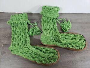 J Crew Wool Cable Knit Women's LARGE GREEN Slipper Sock Boots Fits Sz 10