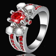 Size 8 Platinum Rhodium Wedding Engagement Ring Round Ruby Cut Cocktail Crystal