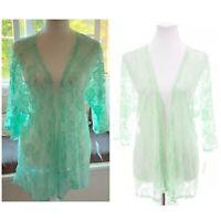 NWT LulaRoe Lindsay Lace Kimono Jacket Rare Unicorn Mint Blue Green Sz Small