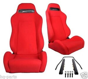 NEW 1 PAIR RED CLOTH RECLINABLE RACING SEATS FOR CHEVROLET *