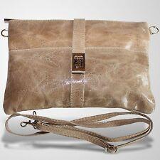 Clutch Abendtasche Schultertasche Umhänge Tasche Leder Handtasche Beige 1