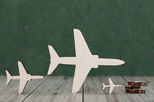 Jet Aeroplane / airplane shape wooden craft blank, birch ply cut outs 8, 4, 2cm