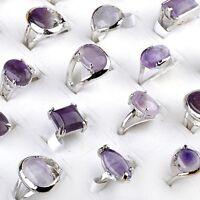 Fashion 10Pcs Bulk Amethyst Purple Gemstone Stone Silver Plated Rings Jewelry