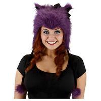 Adult Teen Furry Plush Purple Kitty Cat Halloween Costume Hoodie Hat Bow Beanie