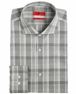 Hugo Boss Mens Dress Shirt Deep Gray White Size 17 Plaid Button Down $98 192