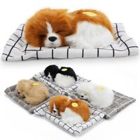 Lovely Simulation Animal Doll Plush Sleeping Dogs Kids Stuffed Toys With Sound