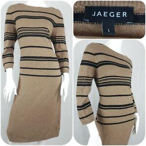 Jaeger Wool & Cashmere Blend Jumper Dress Tan Brown Stripe Size L/14-16