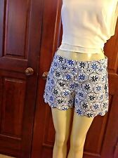 Mud Pie WOMEN'S SHORTS Size SMALL 4-6 Blue Scalloped Serena Cotton NWT