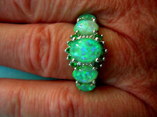 Opal Ring grüner Feueropal 925 Sterling Silber grüne Feueropale +  Smaragd Gr.54