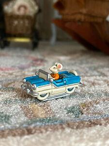 RANDALL ZADAR Rare Miniature Dollhouse Artisan Bronze Mouse in Car Figurine