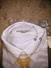 Katherine Hamnett Men Designer Long Sleeve Shirt - Double collar - Rare Fine