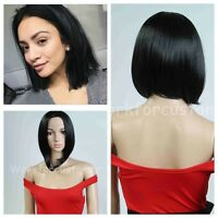 Women's Fashion Short Straight Black Wigs Hair Full Wigs for Cosplay Party+Cap