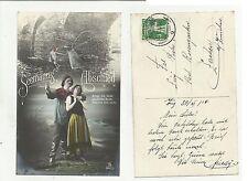 84674 antica cartolina  spedita da svizzera seemann abschied marinaio addio