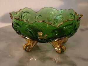 EAPG Northwood Louis XV Emerald Green Gilded footed Small Berry Bowl