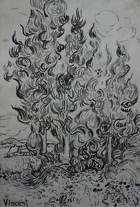 Classic Ink drawing w COA, signed Vincent van Gogh, Rare uniqe work