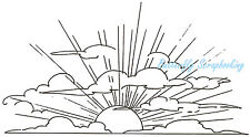 Sunrise Scene SUN & Clouds in Sky Wood Mounted Rubber Stamp NORTHWOODS O1643 New