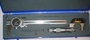"Fowler Machinist Measuring Set Micrometer 1"" Caliper 6"" 52-095-018 Mitutoyo"