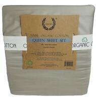 NEW Laurel Crest 100 Organic Cotton Queen Sheet Set 350 Thread Count grey