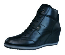 Geox D Illusion A Womens Wedge Trainer-Boots Fashion Shoes All Plain Black