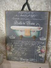"Shabby/ Vintage /French Bathroom Sign Salle De Bain (Aqua) Hanging Plaque 8""x10"""