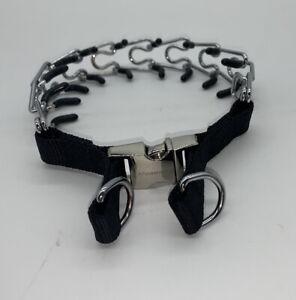 Aheasoun Dog Prong Training Collar Adjustable Stainless Steel Links W/Rubber Tip