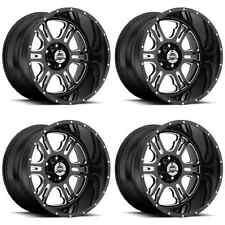"Set 4 20"" Rage Black/Milled Wheels 20x12 Fits Lifted 6 Lug Chevy Trucks 6x5.5"