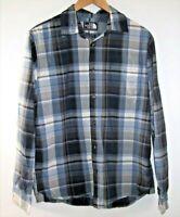 The North Face Button Up Shirt Men's Medium L/S Navy Blue & Gray Cotton Plaid
