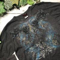 Miami Ink Mens Skull Fleur De Lis Graphic Print Waffle Knit Thermal Top Size XL