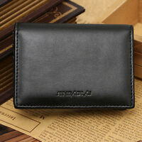 Mini Bifold Genuine Men's Leather Wallet ID Credit Card Holder Purse Money Clip