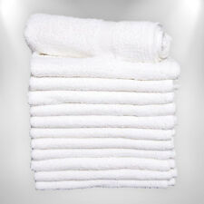 24 NEW WHITE HAND TOWELS HOME BASICS SALON 16X27 100% COTTON BLEACH SAFE SALE